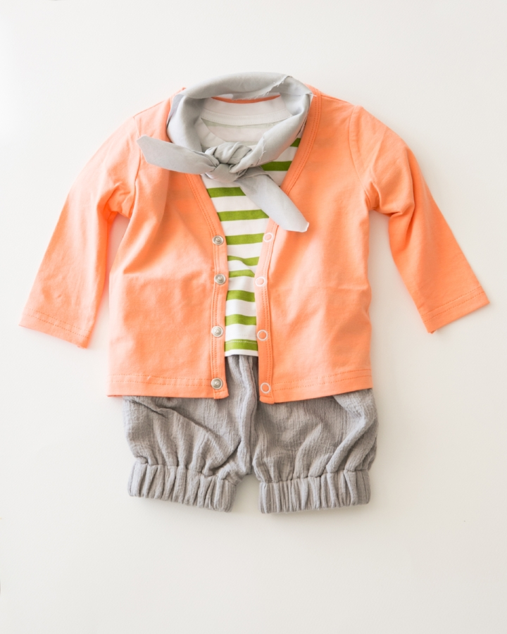 cardigan and tee: June and January, shorts: The Crafted Co, scarf: stylists own