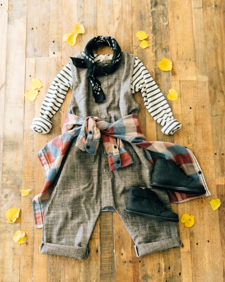 Unisex! Overalls: CarlyMegan, tee: Mabo, plaid: Zara, neck tie: stylist's own, shoes: Zimmerman