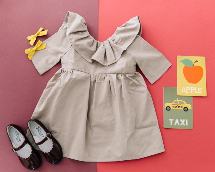 Dress: The Crafted Co, Shoes: Zimmerman Shoes, Flash Cards: Bright Eyed Baby, Bows: Free Babes