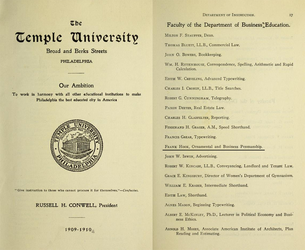 1909-10 Temple College Catalog Faculty Listing