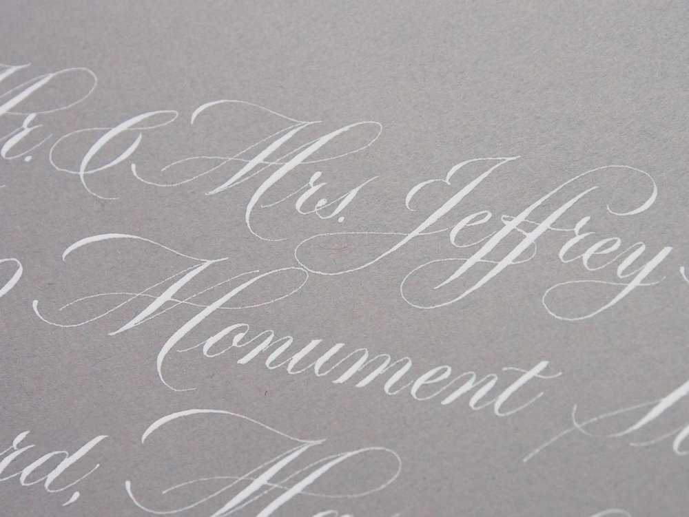 Copperplate Envelope - bleed proof white on grey