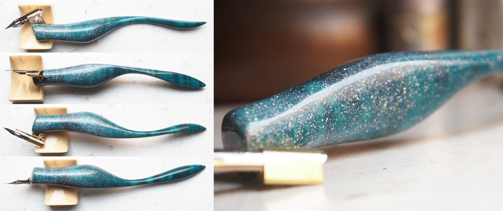 Mermaid Pen - Dyed Flame Maple with Holographic Memory Glitter