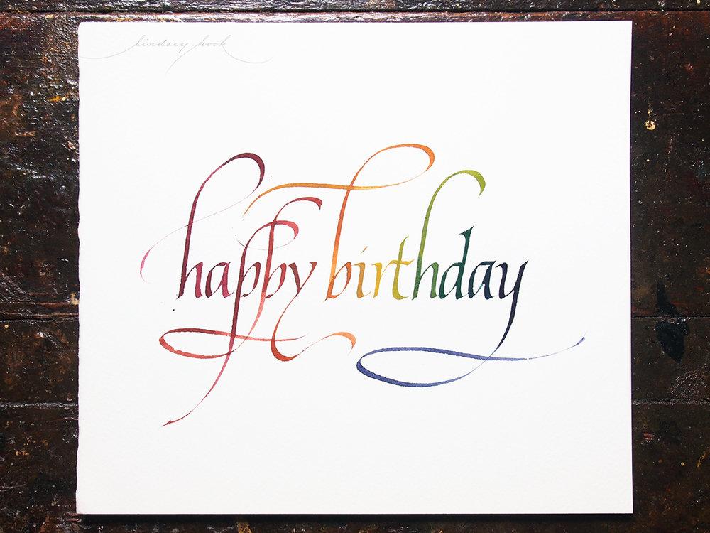 Italic Birthday Card