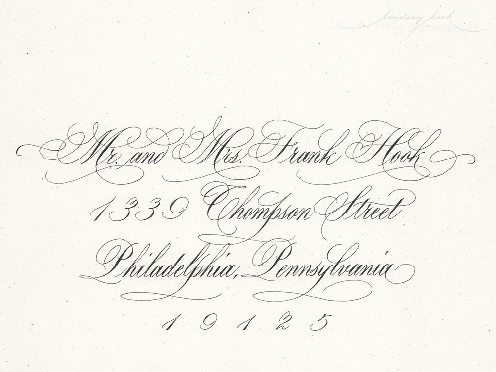 Heavily Flourished Roundhand/Copperplate Script Envelope