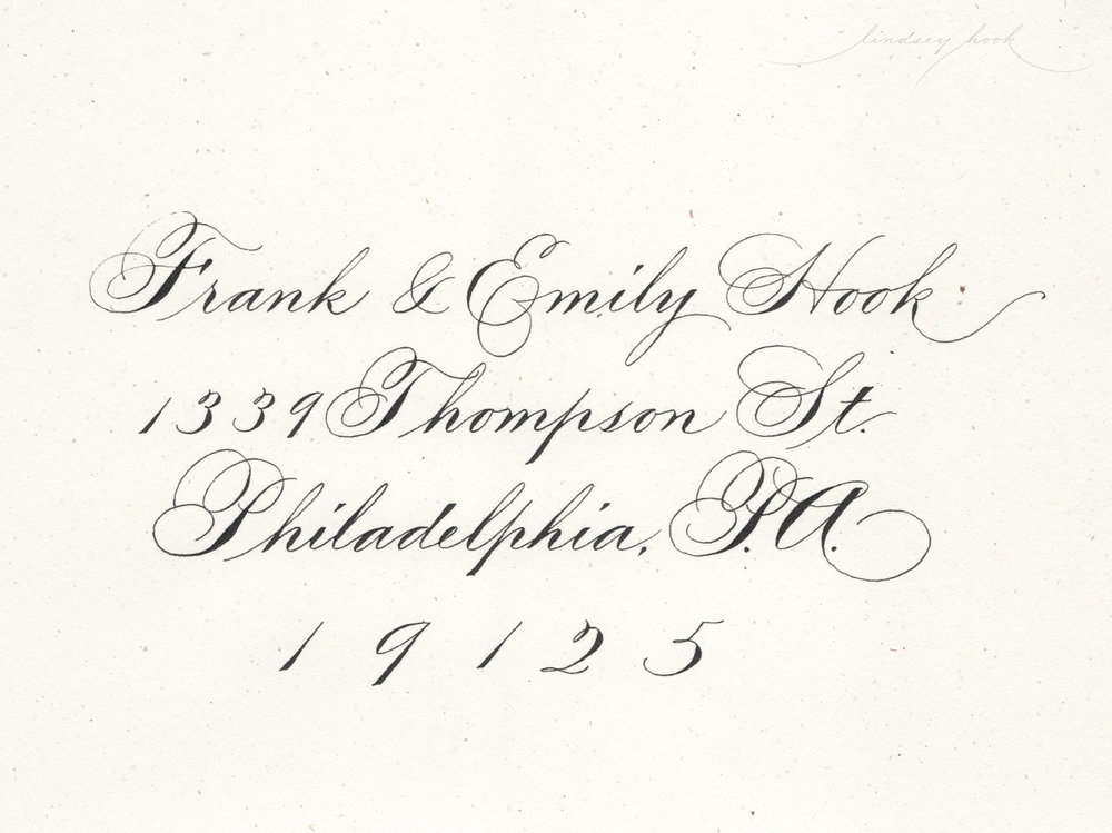 Ornamental/Shaded Spencerian Script Envelope