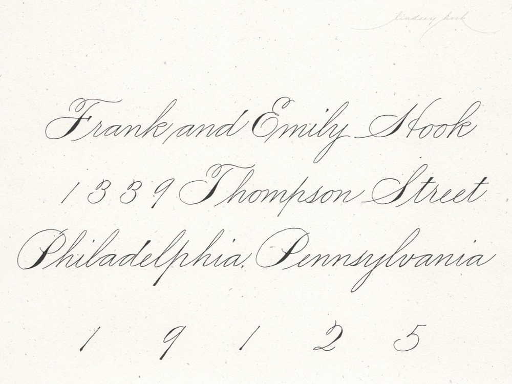 Simple Spencerian Script Envelope