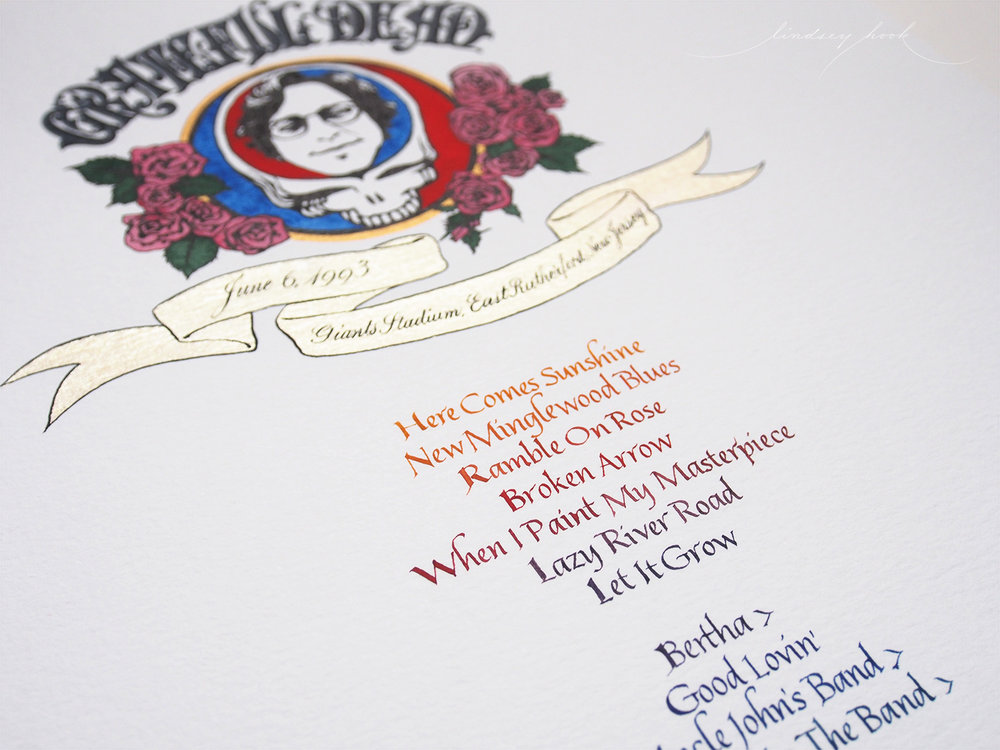 Grateful Dead Set List Header and Text Detail