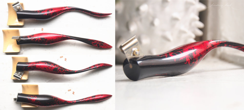 Macassar Ebony and Red Metallic Leaf