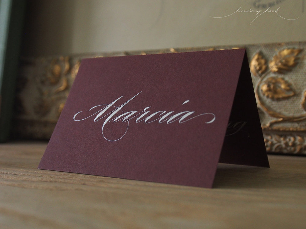 Ornamental Script Thanksgiving Place Cards