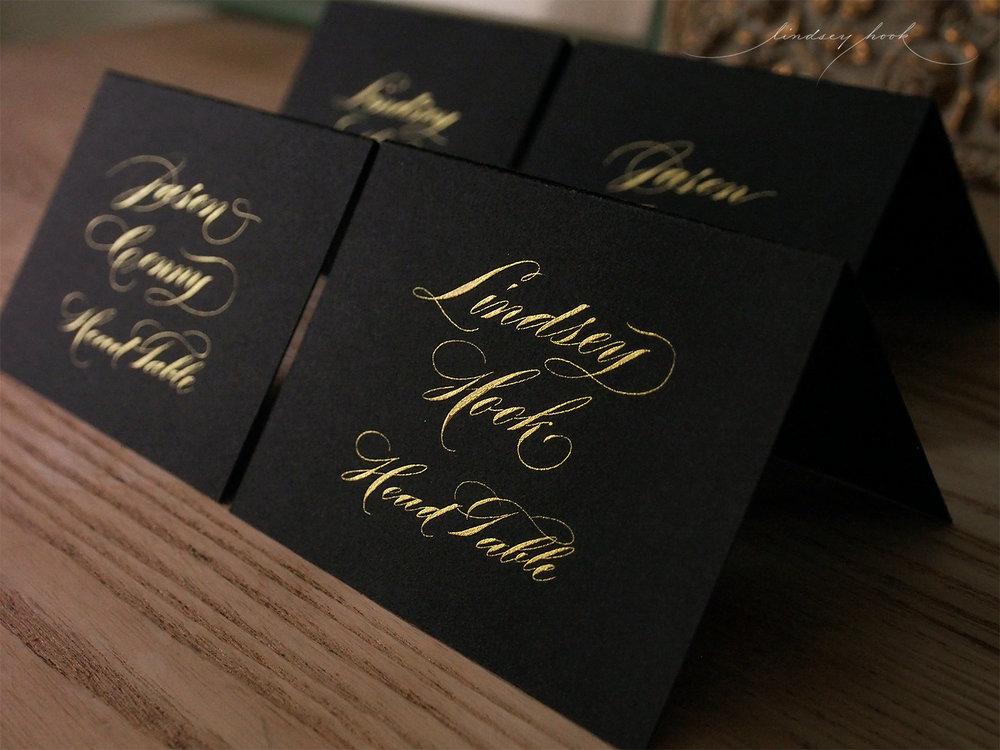 Shaded Madarasz Style Ornamental Script Escort Cards