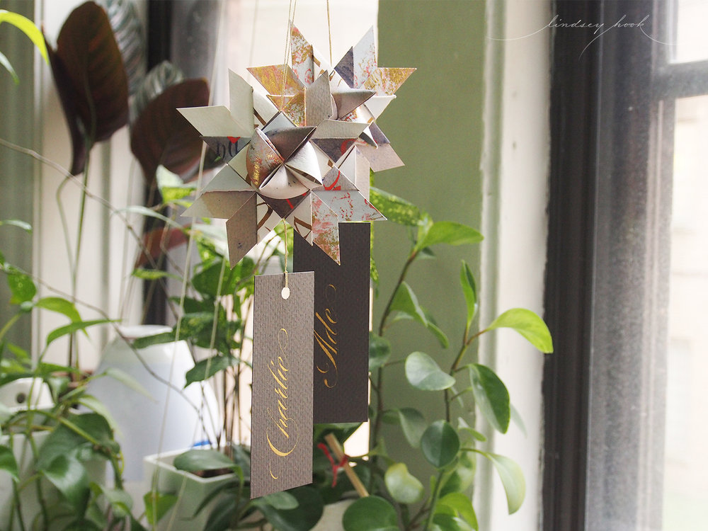 Calligraphy Moravian Star Ornaments