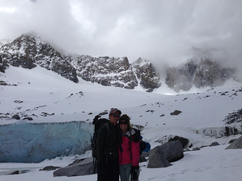 bran and bnna at base of glacier