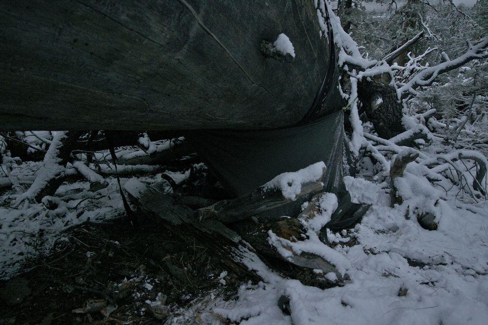 minimalist tarp+hammock shelter doing pretty well in a snow storm near the san joaquin river on the jmt