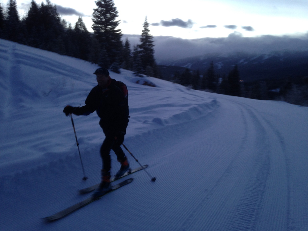 guy skinning on the beautiful groomed shrine pass road