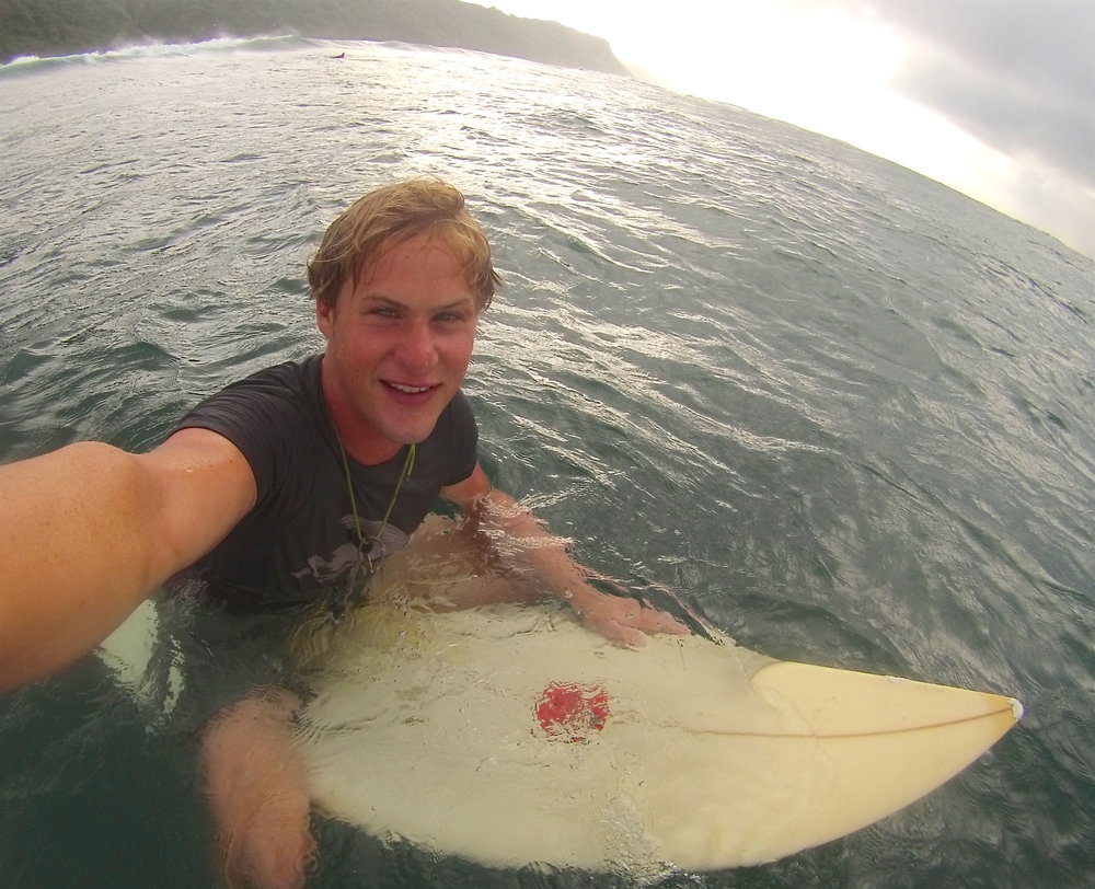 selfie from green bowl. by the end of our time on bali it was one of my favorite places to surf.
