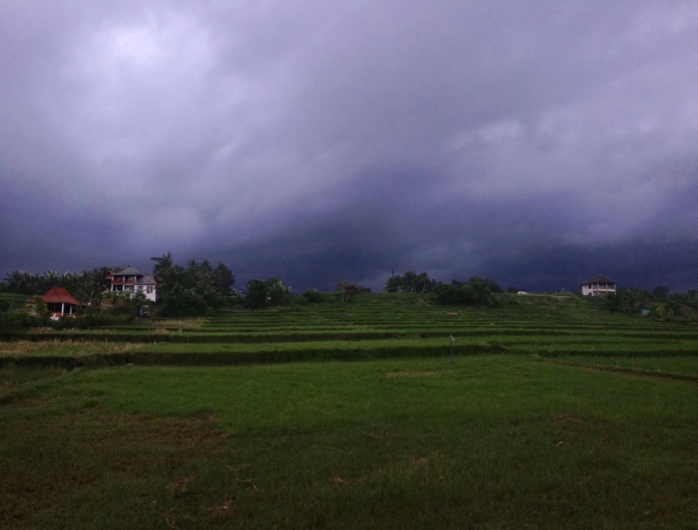 a storm approaching over the guest house we stayed in in medewi