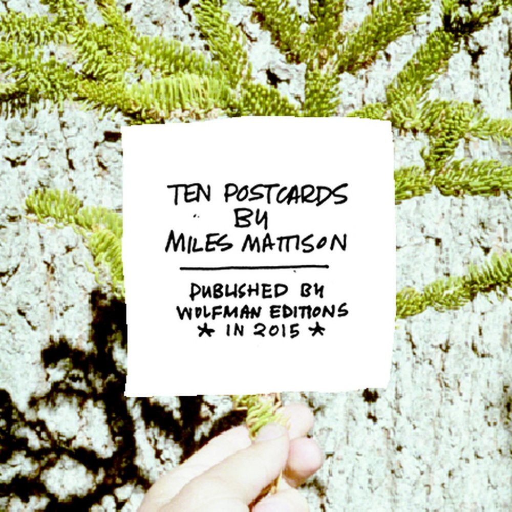 Ten Postcards Miles Mattison $12.00 Ten photographic postcards of connective technology and forces, with hand-drawn labels, and a short essay by the artist.