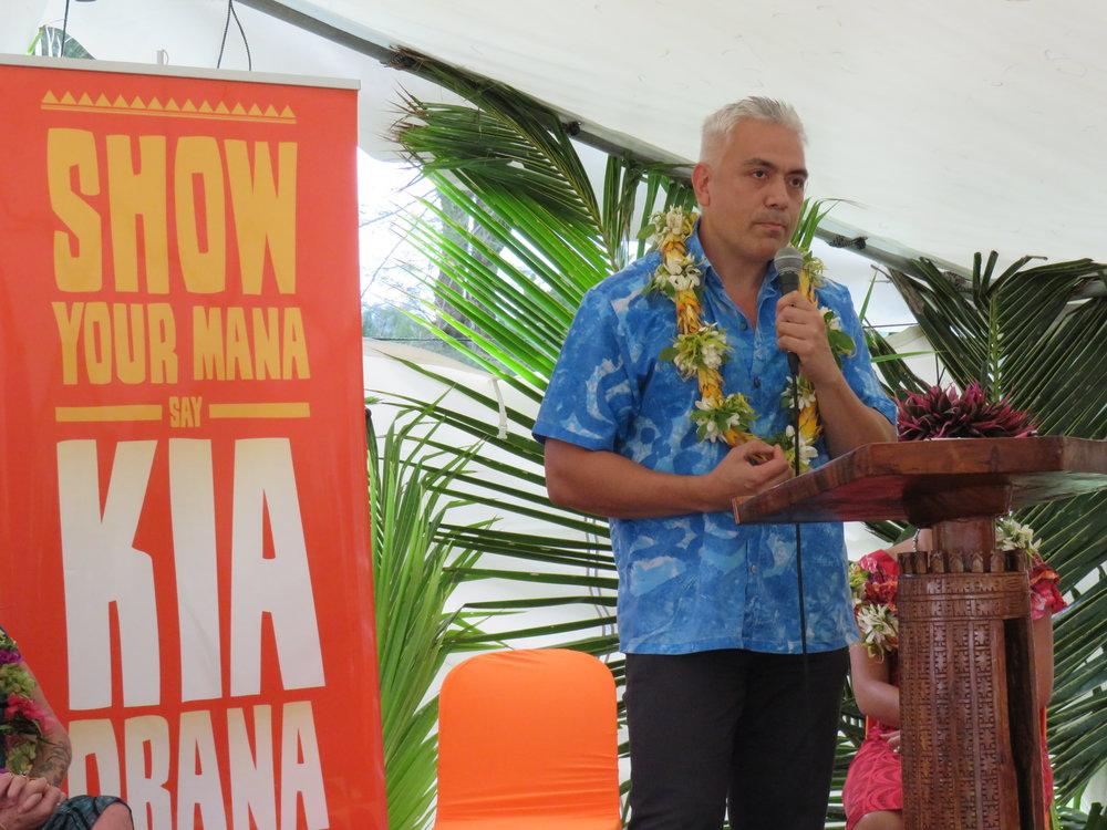 Halatoa Fua speaks at the Kia Orana Customer Service graduation.JPG