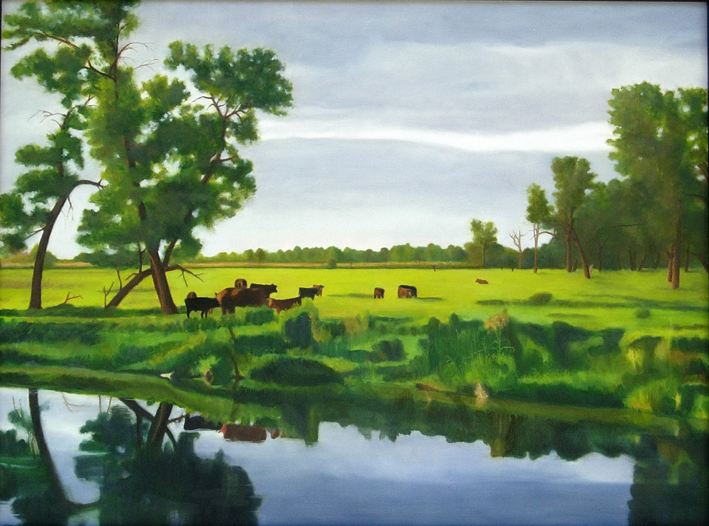 Summer Evening on the James River (South Dakota) -   oil on wood panel