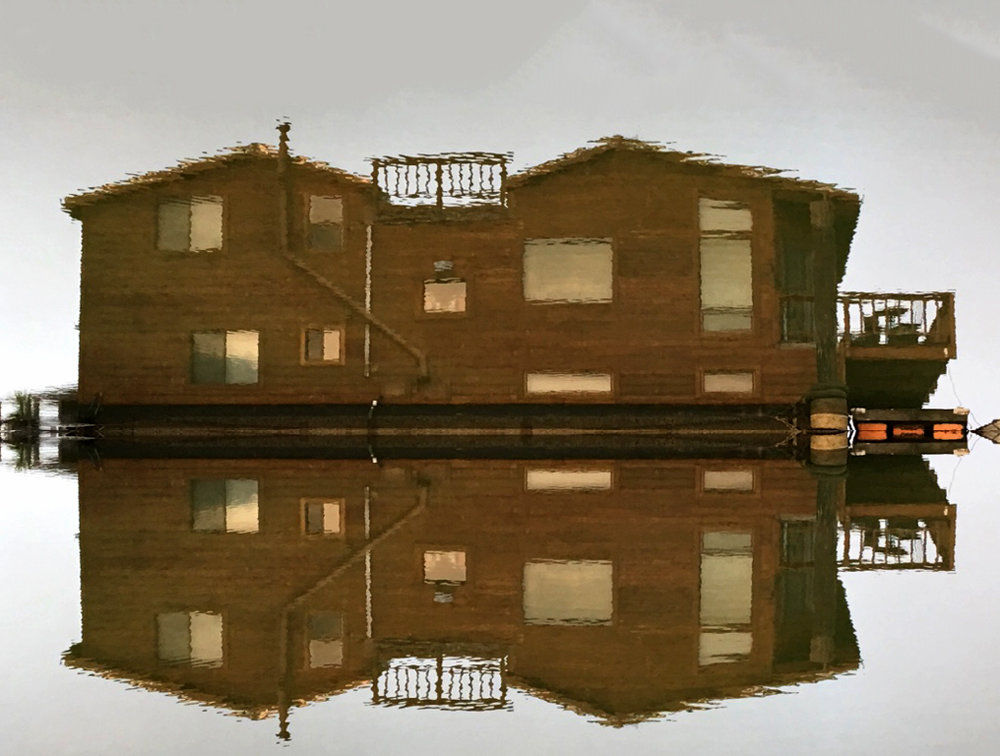I took a photo of the upside reflection of our neighbor Dennis' houseboat in the water, and sent it to him. He returned it with an added reflection of the reflection included. True collaboration, upon further reflection. I love these reflective moments and images here on the water. It gets us out of ourselves, allows us to see how what we say and do is reflected on other surfaces. Oh!