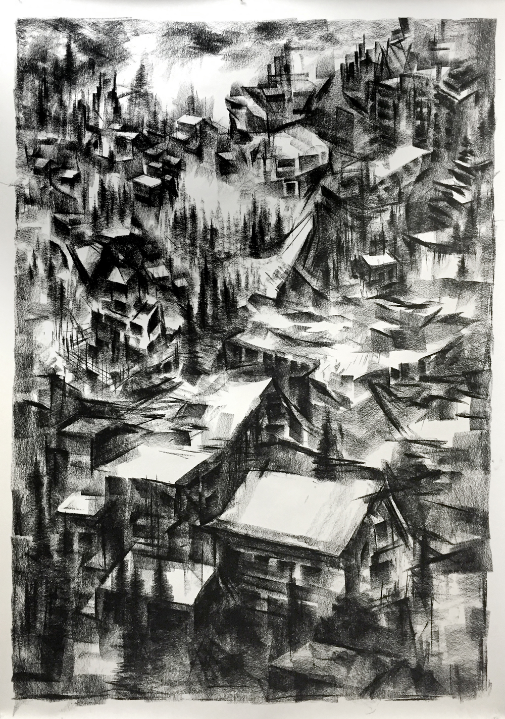 """Unititled"" - Charcoal on Paper 33 X 48 Inches"