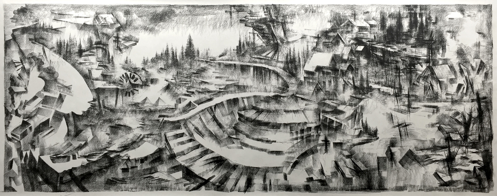"""Unititled"" - Charcoal on Paper 75 X 33 Inches - 2016"