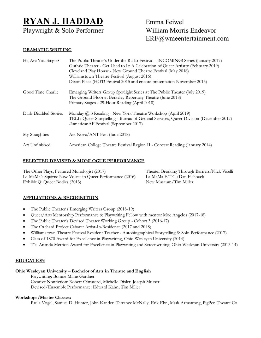 DOWNLOAD PLAYWRITING RESUME