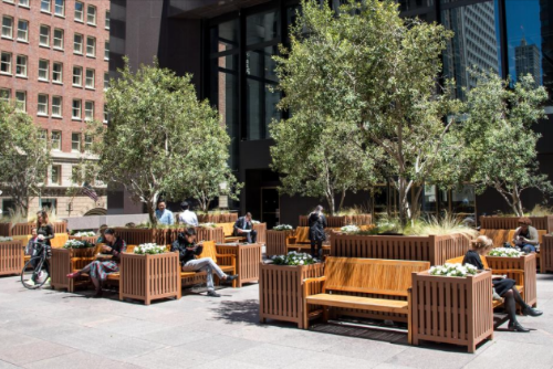 Always open, this urban garden has an intimate feel thanks to the teak benches, and olive trees and bamboo in large planters. There is also open space with public art and landscaping.