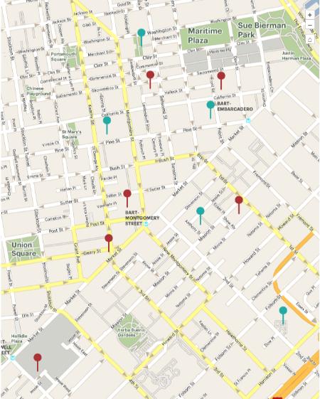 A map of downtown San Francisco's Public Spaces.Green dot = urban garden, red dot = sun terrace