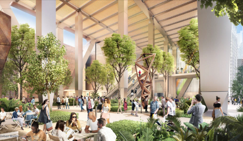 Rendering of the Urban Room on the ground level open space. Image:Foster +Parntersheller Manus.