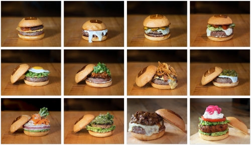 The Umami burger line up.
