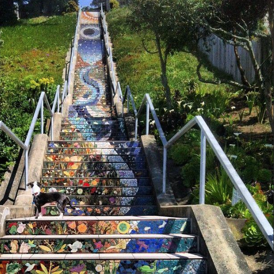 Mosaic stairway in Golden Gate Heights, one of the City's hottest boroughs for new home buyers.