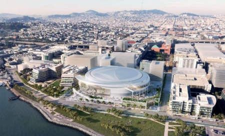 Rendering of Warriors arena by  Steelblue., Courtesy Of MANICA Architecture.