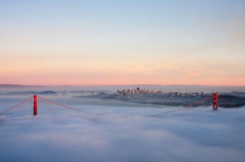 San Francisco Golden Gate Bridge shrouded in Fog