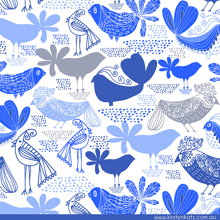Blue Bird Surface Pattern Design