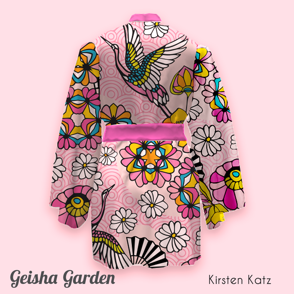 Gesiha Garden Textile Design as shown here on this Kimono