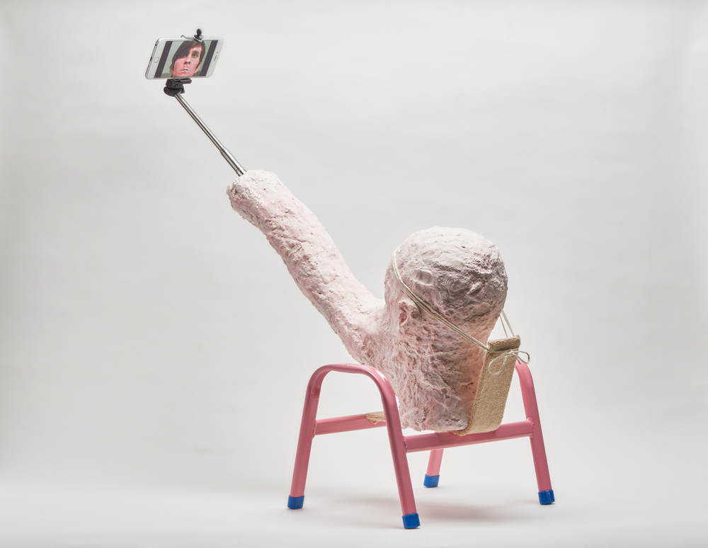 A Warm Summer's Evening of Self Reflection, 2016  Paper-Mache, Plaster, rope, selfie-stick, iPhone, child's chair
