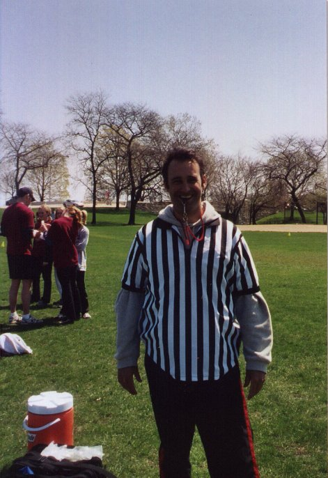 Todd refereeing co-ed adult football in Chicago