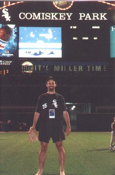 Chicago White Sox Sleepover, sleeping outside on center field of Comiskey Park