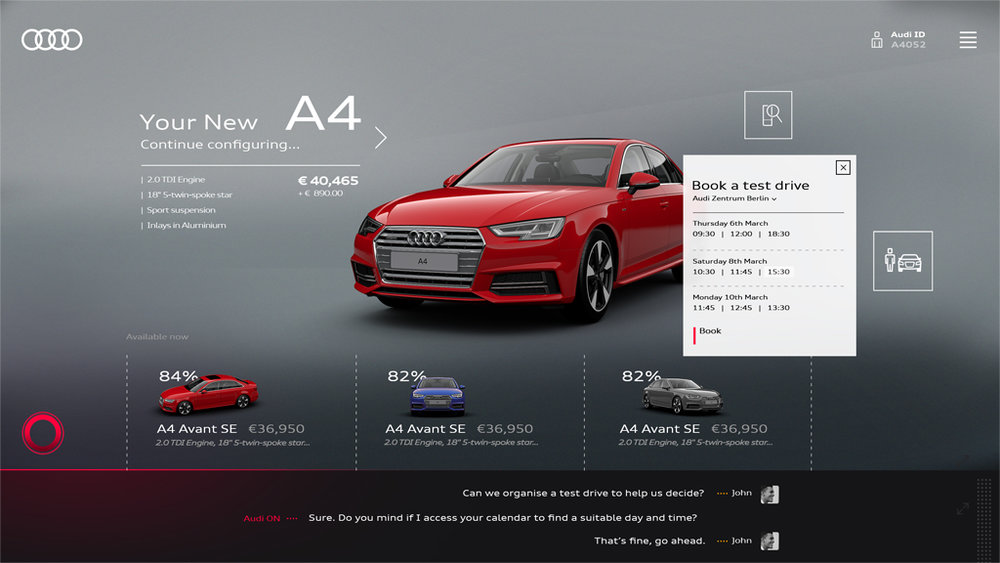 Configurator screen with test drive pop up