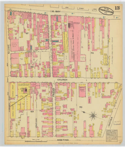 The 1884 Sanborn Fire Insurance Map shows the original 13 structures currently referred to as Rainbow Row along E. Bay St. at the top left corner of the map running from Elliot St. to Tradd St.