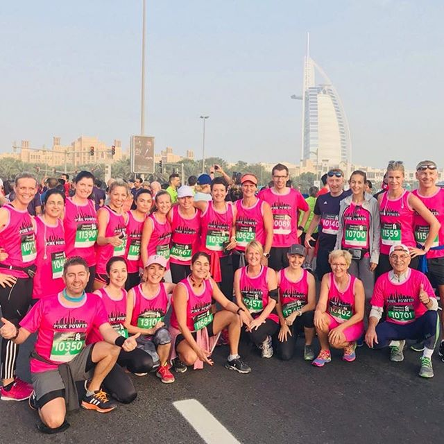 7:30am yesterday.  Proud to have been part of this group (which was a total of 45 people) running/walking different lengths of the Standard Chartered Dubai Marathon in support of a friend fighting metastatic breast cancer, who had just about enough energy to run with us.  Also trying to raise awareness of the absolute importance of early detection through my personal story: a little over a year ago I was recovering from a double mastectomy after tumours had been removed from both my breasts that proved to have cancerous cells within. I was so very lucky that it was found at such an early stage (stage 0) and still contained. Had I waited longer, I don't know what would have happened. But I, too, thought it would never happen to me. There was no reason to.  October and all the Pink Month awareness campaigns might be over but that does not mean you cannot do a check up. I did mine in March and, coincidentally, was only diagnosed in October (it's a long story I won't bore you with). So if you missed it in October, it's not too late. Please go and have a check up now x