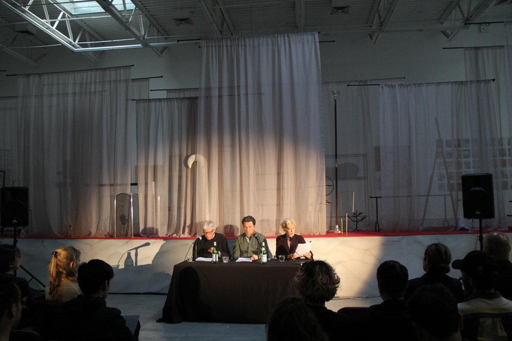 Fatal Act  live-read, performance still, Swiss Institute, New York, 2016. Featuring actors Dana Wheeler Nicholson, Doug Barron, and Roger Clark.