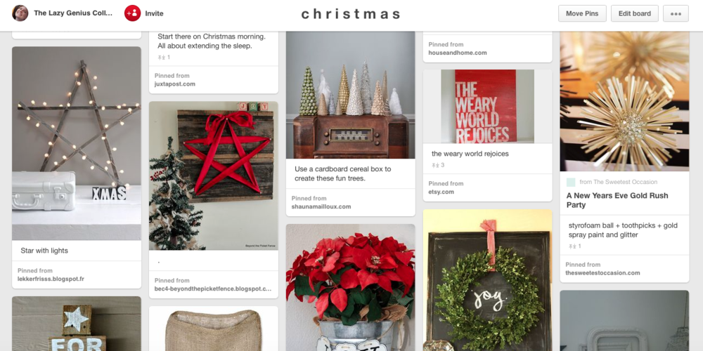 my holiday Pinterest board