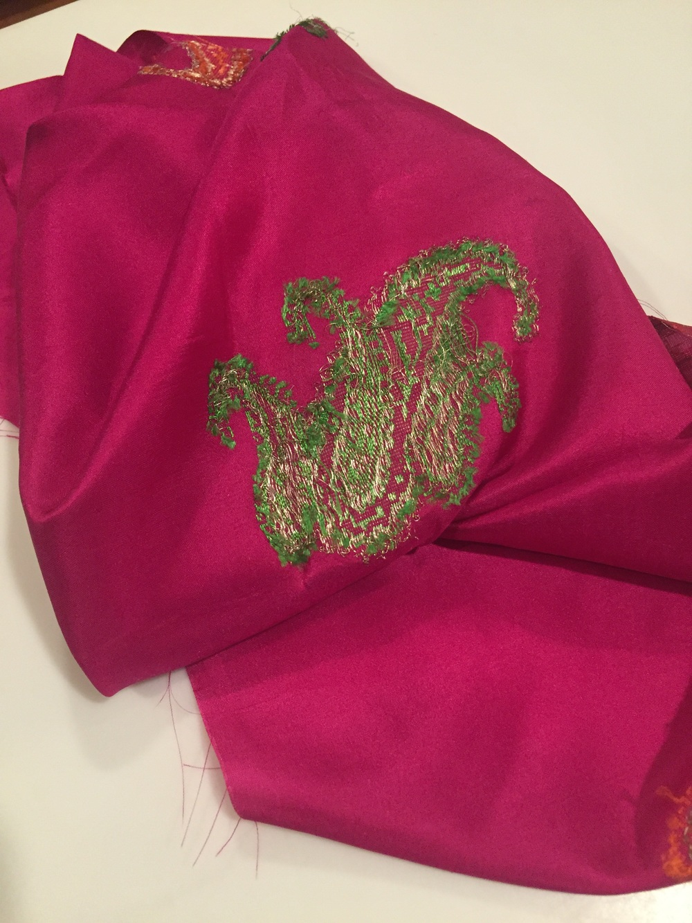 This is a recycled Varanasi silk Sari.  This beautiful sari is a vibrant pink color.  It is very lovely and smells like the Pacha soap.