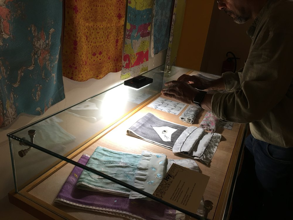 Michel Pecou photographing my hand painted scarves and fabrics