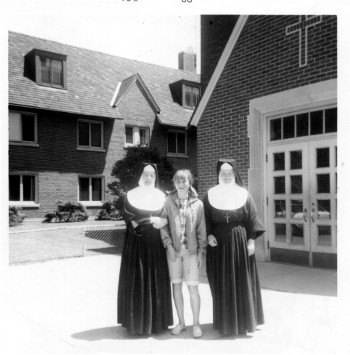 Sisters with a student