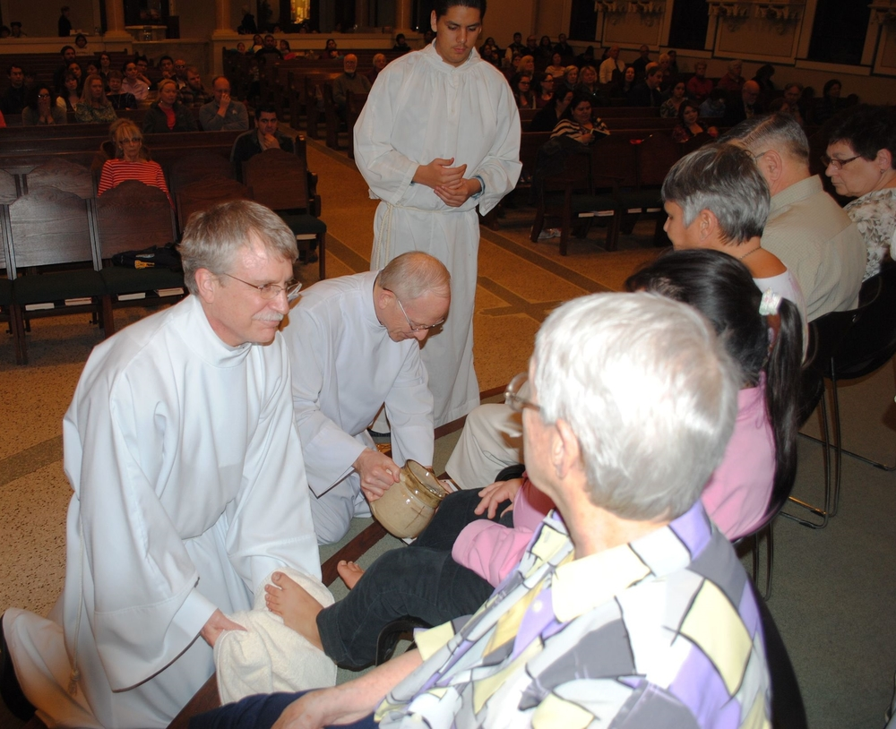 Foot Washing on Holy Thursday.
