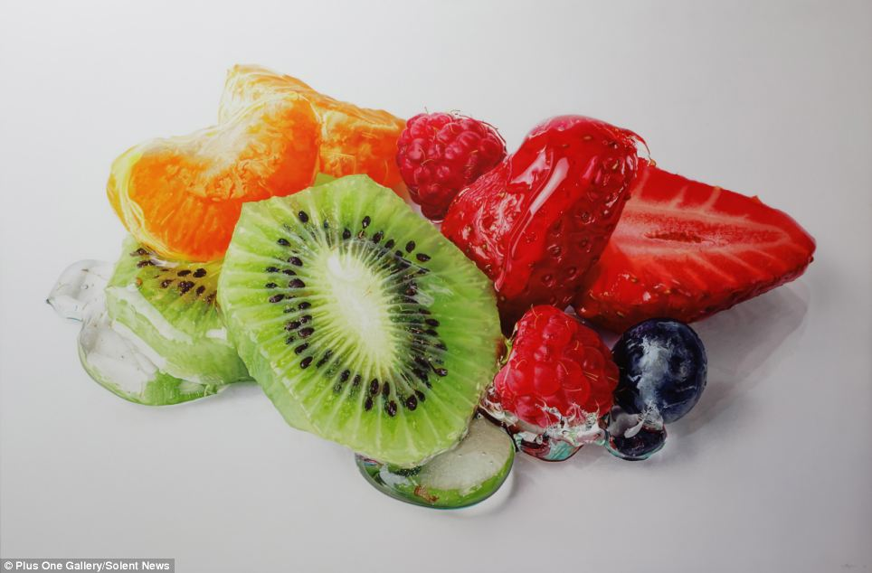 Looks good enough to eat, though eating it might not bode so well. A painting, not real fruit!