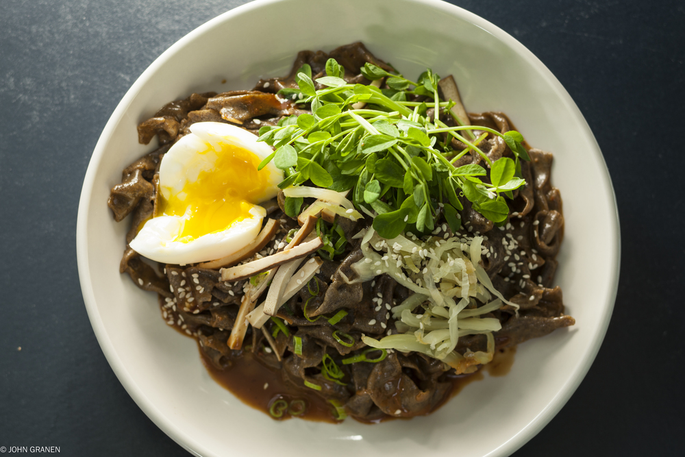 Thick Buckwheat Noodles with Soft-Cooked Egg